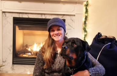 Erin Shea and her dog Brusci.